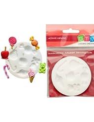 Moule en silicone 6 motifs miniatures Bonbons d'enfant, rond de 7cm extra flexible