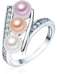 Valero Pearls - Bague - Perles de culture d'eau douce - Argent sterling 925 - Bijoux de perles oxyde de zirconium - Bijoux pour femmes - En plusieurs tailles, bague oxyde de zirconium - 60201410