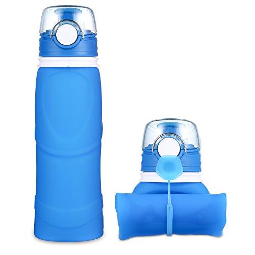JerryBox Acqua Bottiglia Pieghevole Silicone - 750 ml, per uso medico, priva di BPA, approvata dalla FDA, bottiglia a perfetta tenuta in silicone pieghevole, ideale per lo sport, attività all'aperto, viaggio, campeggio, picnic - Blu - Sport e all'aperto