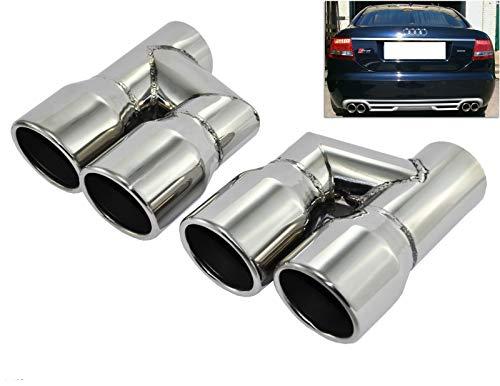2 x 89mm Auspuff Endrohre Blenden Edelstahl Chrome Sportauspuff aus Edelstahl BL206 passend für A4 A5 A6