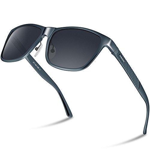 PAERDE Unisex Retro Al-Mg Metallrahmen polarisierte Sonnenbrille für Männer Frauen (Geau Rahmen&Schwarze Linse)