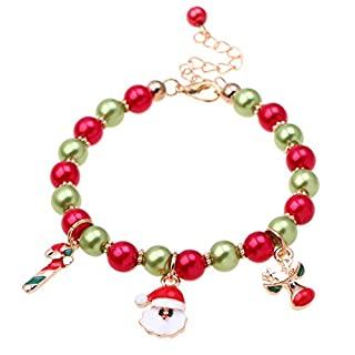 Aituo Christmas Bracelet Silver Plated Women Girls DIY Jewelry With Classic Bead Barrel Clasp Pandora Troll Style European Charms Beads Bracelets (Style-Santa Claus)