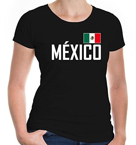 e T-Shirt Mexiko | México Mexique Messico Amerika Ländershirt Fanshirt Trikot Reise | XS, Schwarz (Tourist Kostüm Halloween)