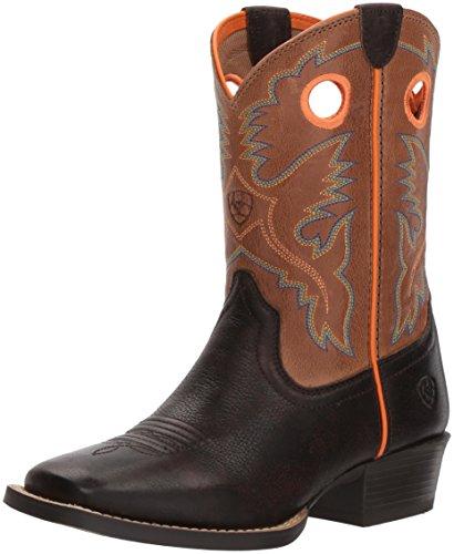 Ariat Kids' Baby Heritage Roughstock Western Boot, Dark Java/Light Saddle, 9.5 M US Toddler