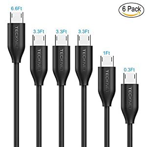 TeckNet Micro USB Cable Ultra Durable [6-Pack] In Assorted Lengths(0.1M,0.3M,1M*3, 2M) - 2.4A Fast Charging USB Data Cables Galaxy S8, Note 5, Huawei, PS4 Controller, Battery Pack Tablets