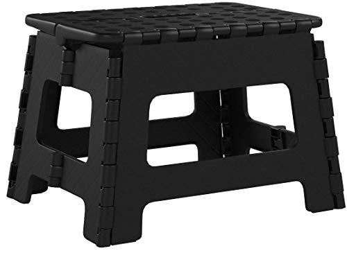 Usmascot Klappbarer Hocker - bis 160 kg - Tragbarer Tritthocker, Rutschfester, Platzsparender Tritt Steigleiter - 32x22x25cm (Schwarz, M)
