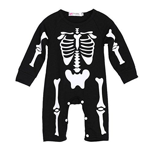 Baby Mädchen Jungen Unisex einem Stück Halloween Skelett Strampler One Piece Body Outfit für 0–24Monate Baby, schwarz, 80 (6-12 Months) (Halloween Skelett Outfit)