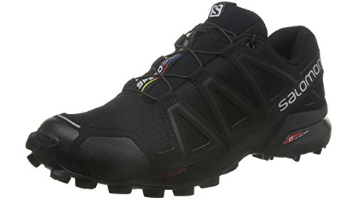 Salomon Speedcross 4 Herren Trailrunning-Schuhe, Black/Black/Black Metallic, 43 1/3 EU