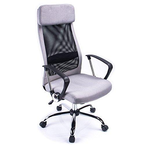 Poptoy - Silla de escritorio giratoria con respaldo alto con malla y altura ajustable para el hogar y la oficina