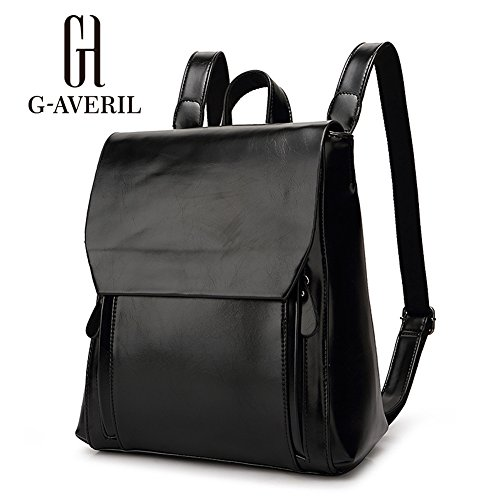 (G-AVERIL) zaino di cuoio nero dello zaino dello zaino dello zaino di lavoro dell'unità di elaborazione dello zaino di cuoio dell'unità di elaborazione per i sacchetti di spalla casuali delle donne Nero