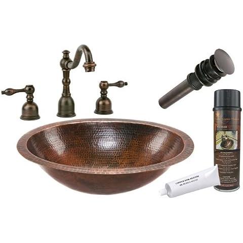 Premier Cobre Productos BSP2_ lo19fdb Oval bajo una mesa lavabo de cobre martillado con generalizada grifo, Bronce aceitado por Premier Cobre Productos