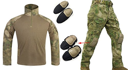 WorldShopping4U Herren Army Military Softair Paintball Krieg Spiel Shooting Gen3 G3 Tactical BDU Combat Uniform Hemd & Hose Anzug Mit Ellenbogenschützer & Knie Pads bei FG, at FG -