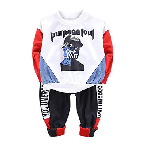 Realde Unisex Baby Jungen Mädchen Kapuzenpulli Top+ Lange Hosen Mode Cartoon Brief Drucken Blusen Herbst und Winter Trainingsanzug Hoodie Outfits Set Kleidung