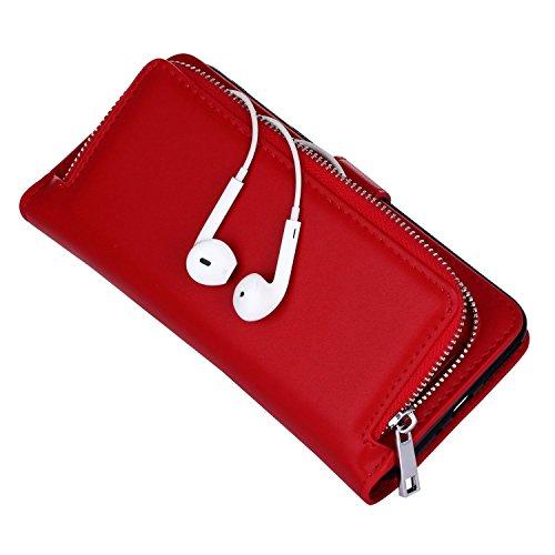 iPhone 7 Plus / iPhone 8 Plus Coque Hommes Femmes en Cuir Véritable Portefeuille Porte-monnaie, Sunroyal Multi Fonctionnel Sac à main Poche étui Portefeuille à rabat Wallet Flip Folio Anti-Neige Pare- Rouge