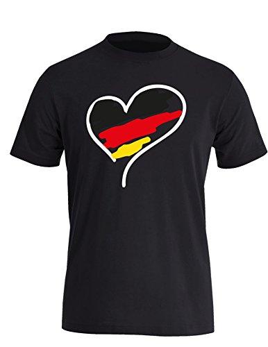 Europameisterschaft 2016 Deutschland Herz - Herren Rundhals T-Shirt Schwarz/Weiss-schwarz-rot-gelb