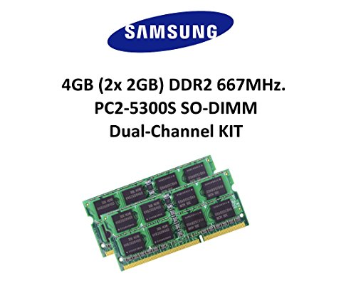 667 Mhz Dual-channel-kit Speicher (Samsung 4GB Dual-Channel KIT (2x 2GB) DDR2 667Mhz PC2-5300 200pin SO DIMM Notebook Arbeitsspeicher 3rd Memory)