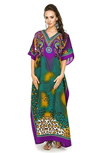 Looking Glam Neu Damen Überdimensional Maxi Kimono Kaftan Tunika Kaftan Damen Top (38-46, Rot 17002) - Kaftan Tunika Top