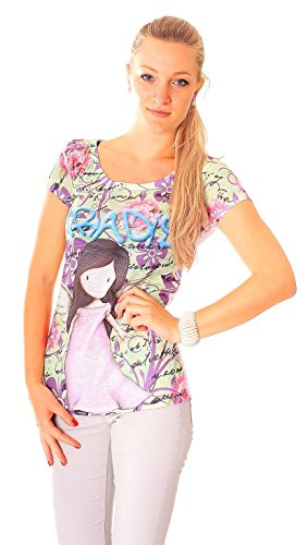 Easy Young Fashion Damen Sommer T-Shirt mit Aufdruck One Size Paradise