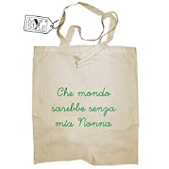 Idea Regalo - My Custom Style Shopper cotone beige festa nonni-nonna