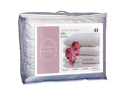 Comptoir du Linge CDLC10%duvet220 - Piumino medio-caldo, 240 x 220 x 5 cm, colore bianco