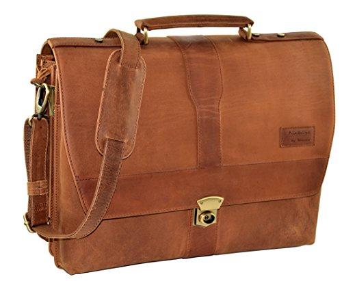 "MENZO Lederaccessoires ""Yale"" Buffalo Vintage Leder, Lederaktentasche, Umhängetasche, Messengerbag, Businesstasche, Lehrertasche, Überschlagtasche, Notebooktasche (braun) -"