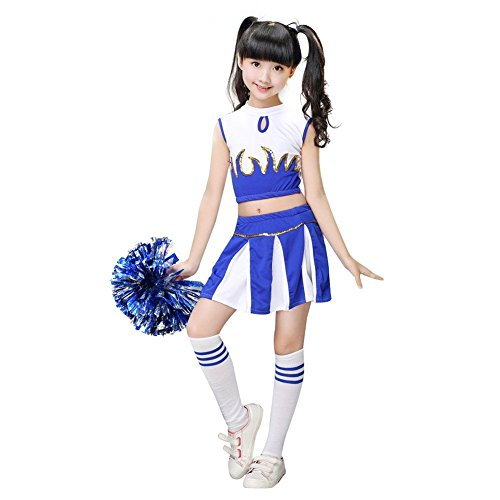 (G-Kids Mädchen Cheerleader Kostüm Kinder Cheerleader Uniform  Karneval Fasching Party Halloween Kostüm mit 2 Pompoms Socken (Blau, Köpergröße 135-140cm))