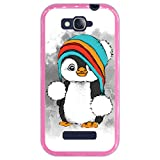 Hapdey Custodia per [ Alcatel One Touch Pop C7 ] Disegni [ Baby Pinguino, Inverno ] Cover Guscio in Silicone Flessibile Rosa TPU