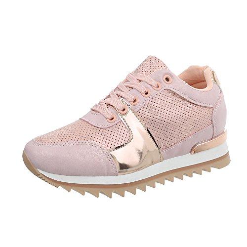 Ital-Design Sneakers Low Damen-Schuhe Keilabsatz/Wedge Schnürsenkel Freizeitschuhe Pink Gold, Gr 39, G-128- (Wedges Für Pink Frauen Schuhe)
