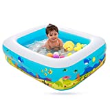 Aufblasbarer Pool Planschbecken Kinderpool Baby Badewanne eckig aufblasbarem Boden Balkon 115 x 85 x...