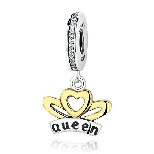 Corona pendente in argento sterling 925, con zirconia cubica trasparente, regali di compleanno fit european charms by chengmen gioielli e argento, colore: queen, cod. dangle-01