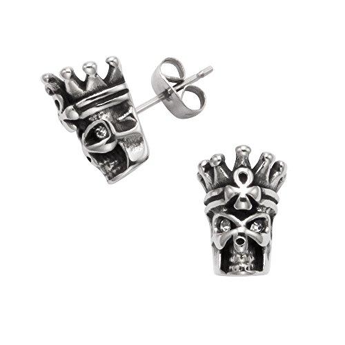 Edelstahl King Skull & Crown Ohrstecker w/Crystal Augen