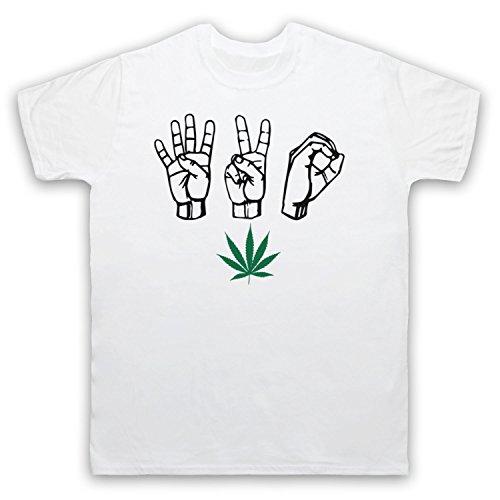 420 Cannabis Leaf Weed Pot Culture Fingers Herren T-Shirt Weis