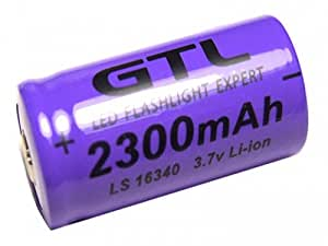 1 Pile Rechargeable Cr123A 16340 3.7V 2300mAh GTL