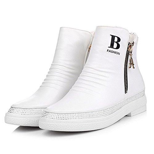 AllhqFashion Damen Weiches Material Rund Zehe Gemischte Farbe Niedriger Absatz Stiefel Weiß