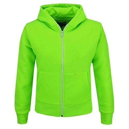 A2Z 4 Kids Kinder Mädchen & Jungen Unisex Einfach Vlies Kapuzenpullover Reißverschluss - Zipper Neon Green 9-10 Jungen Zipper