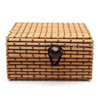 Xshuai  Bamboo Wooden Case, Fashion Portable Ring Necklace Earrings Bamboo Wooden Case Jewelry Storage Boxes Holder Posh