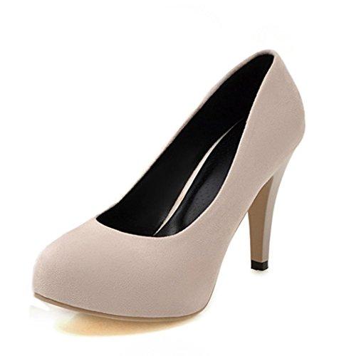 Aisun Damen Einfach Nubukleder Runde Zehen High Heels Pumps Beige