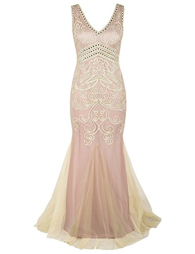 PrettyGuide Damen 1920er Gatsby Ballkleid Meerjungfrau Lange Formelle Abendkleid L beige rosa