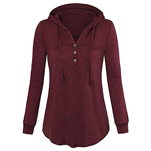 iHAZA Geraffter Kordelzug Sweatshirt für Frauen Hoodie Feste Bluse Pullover Tops