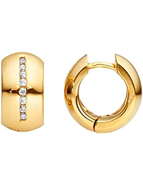 steel_art Damen-Ohrring lines gold - swarovski zirconia weiß 1,5 mmEdelstahl ho8002-7-1