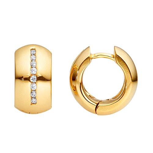 Heideman Ohrringe Damen Lines aus Edelstahl gold farbend matt Ohrstecker für Frauen mit Swarovski Stein Zirkonia weiss rund 1,5mm