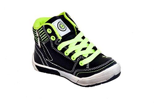 TMY 5126A alla moda e di scarpe per bambini, colore: nero, taglia: 25-36% 2Fjaune Multicolore (Multicolore - Schwarz/ Neon Gelb)