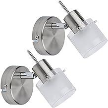 Biard 'Vermont' Pack de 2 Porta Bombilla Moderna Para Iluminación de Interior en Vidrio y Níquel Satinado (Mural o a Techo, Orientable 360°, GU10)