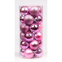 Dax-Hub 6cm Shiny palla ornamento di Natale, infrangibili, confezione da 24, colorate palline di Natale, palline per albero di Natale perfetto per la casa, all' aperto, Albero di Natale, decorazioni Centro commerciale (Rosa, 6cm)