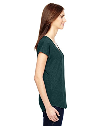 6750 VL Amboss Damen Tri Blend V-neck Tee grün - HTH DARK GREEN