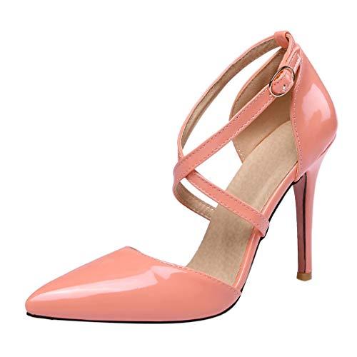 (BHYDRY Frauen mit hohen Absätzen Kreuzgurte spitze Lackleder Sandalen Freizeitschuhe(37,Rosa)