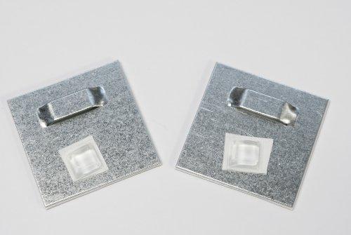 Klebebleche, Spiegelaufhänger bis 2kg (4,5x4,5 cm), Aufhänger für Spiegel, Alu-Dibond. selbstklebend