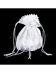 acmebuy (TM) 2016Nueva llegada blanco satinado perlas boda novia flores niña baile funda Dolly bolsa bolso de mano decorada w/Pearl Rhinestone
