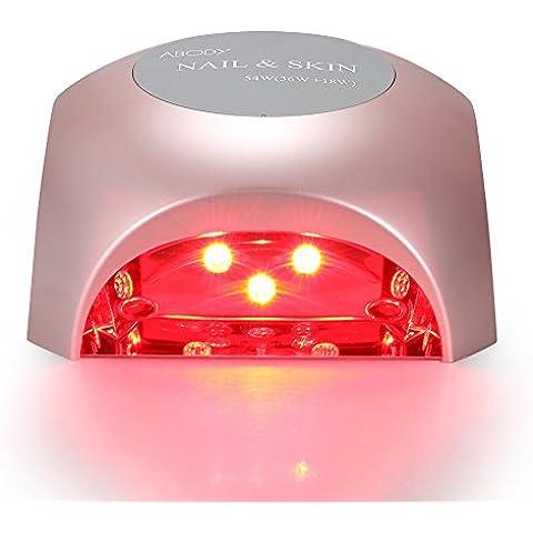 Abody Fornetto Unghie 54W 2 in 1 Rosso e Viola LED Professionale Anti-aging della Pelle in Automatico Sensore con Timer da 30s,60s,90s per LED e UV gel