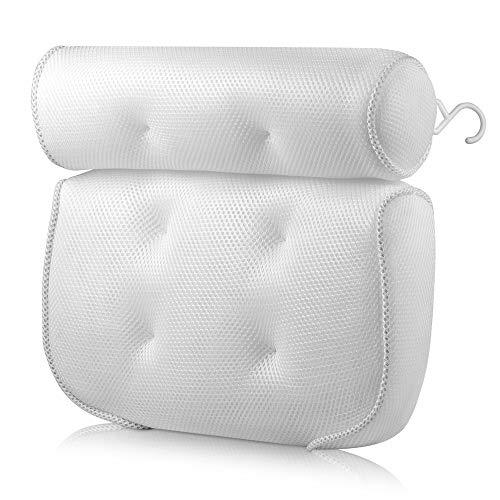 MZY1188 3D Mesh Whirlpool-Kissen - Atmungsaktive Badekissen für Kopf- und Nackenstütze Mit 4 Saugnäpfen, rutschfestes Design für entspannende Schaumbäder